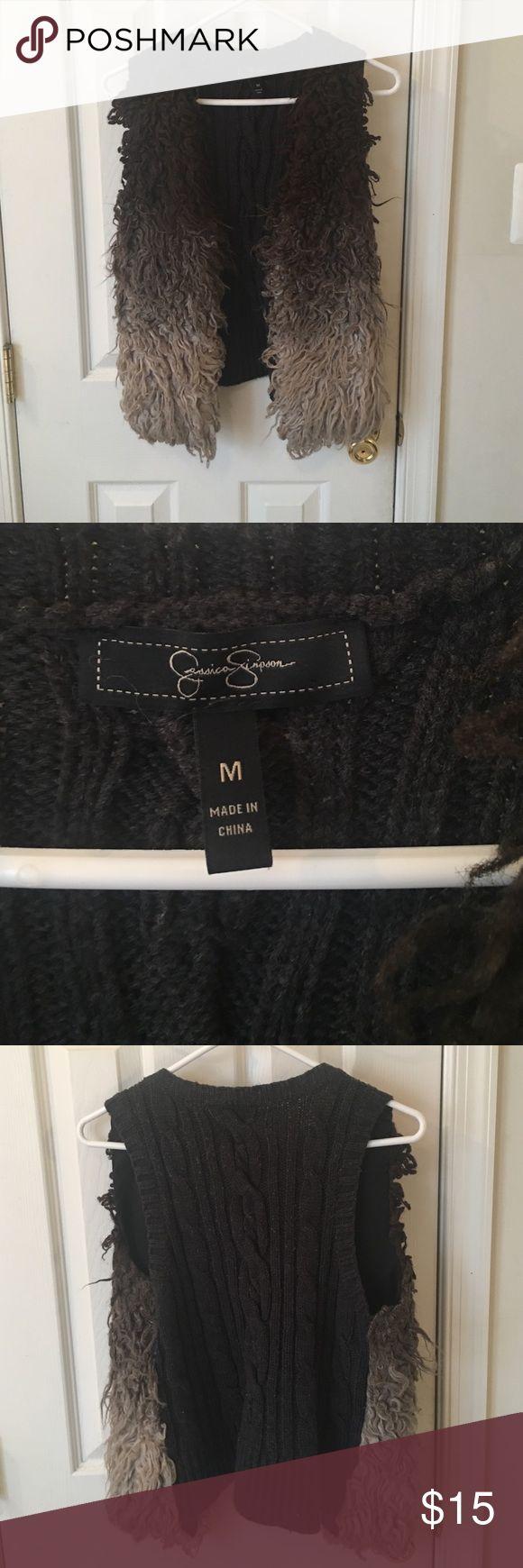 Jessica Simpson size medium sweater shaggy vest Jessica Simpson size medium sweater shaggy vest Jessica Simpson Jackets & Coats Vests