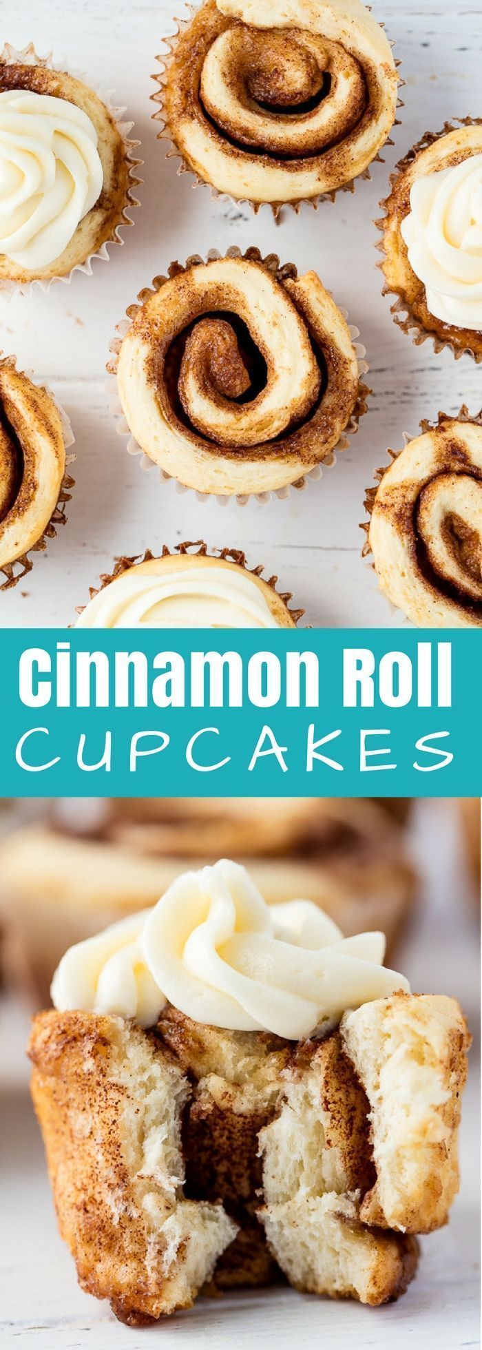 #Cinnamon #Roll #Cupcakes are a fun new way to serve up single sized individual portions. These are just way too much #fun! #dessert