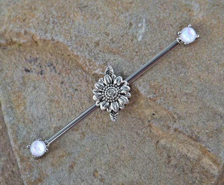 Daisy Industrial Barbell Opal Ends Scaffold Piercing 14ga Body Jewelry Piercing Jewelry