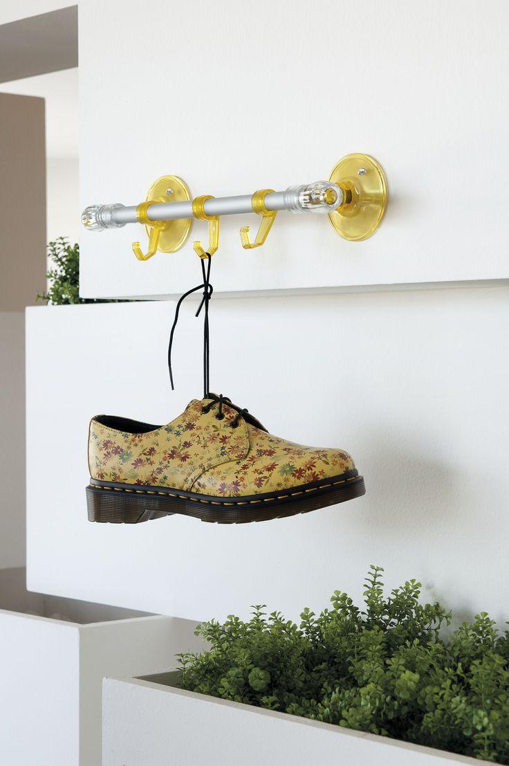 Asta corta con ganci gialla - Yellow short towel bar with hangers
