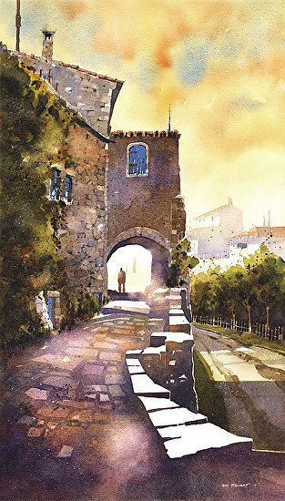 "The Tourist - Oppède Le Vieux, Provence by Iain Stewart Watercolor ~ 21"" x 12"""