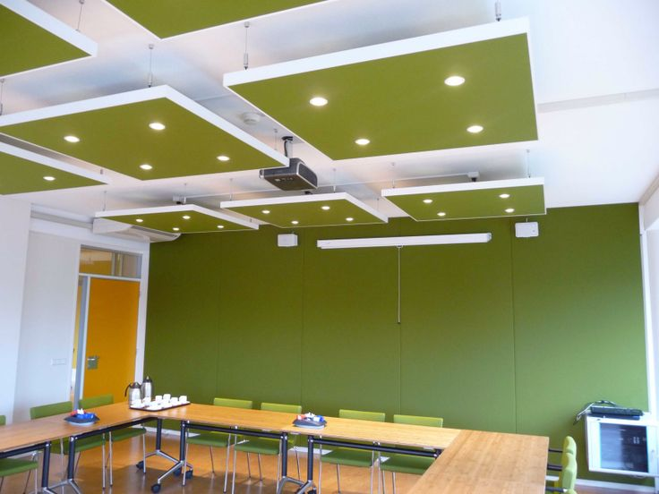 City council project in NL. Reverb25 Wall Panelling & Reverb Ceiling Islands