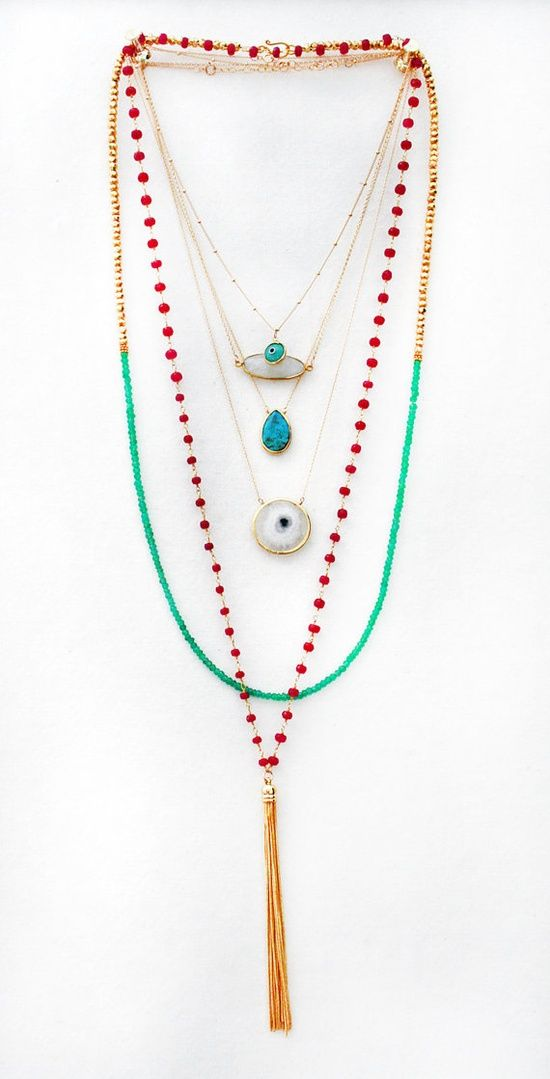 Multi strand long necklace - light and lovely