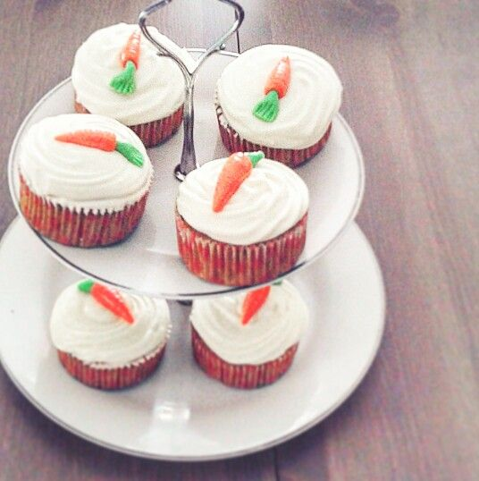 Carrot cupcakes with cream cheese frosting!