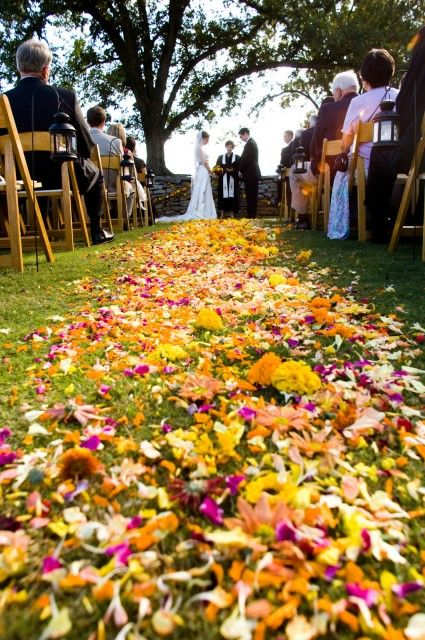 An early October wedding ceremony on The Croquet Lawn (Serenbe)