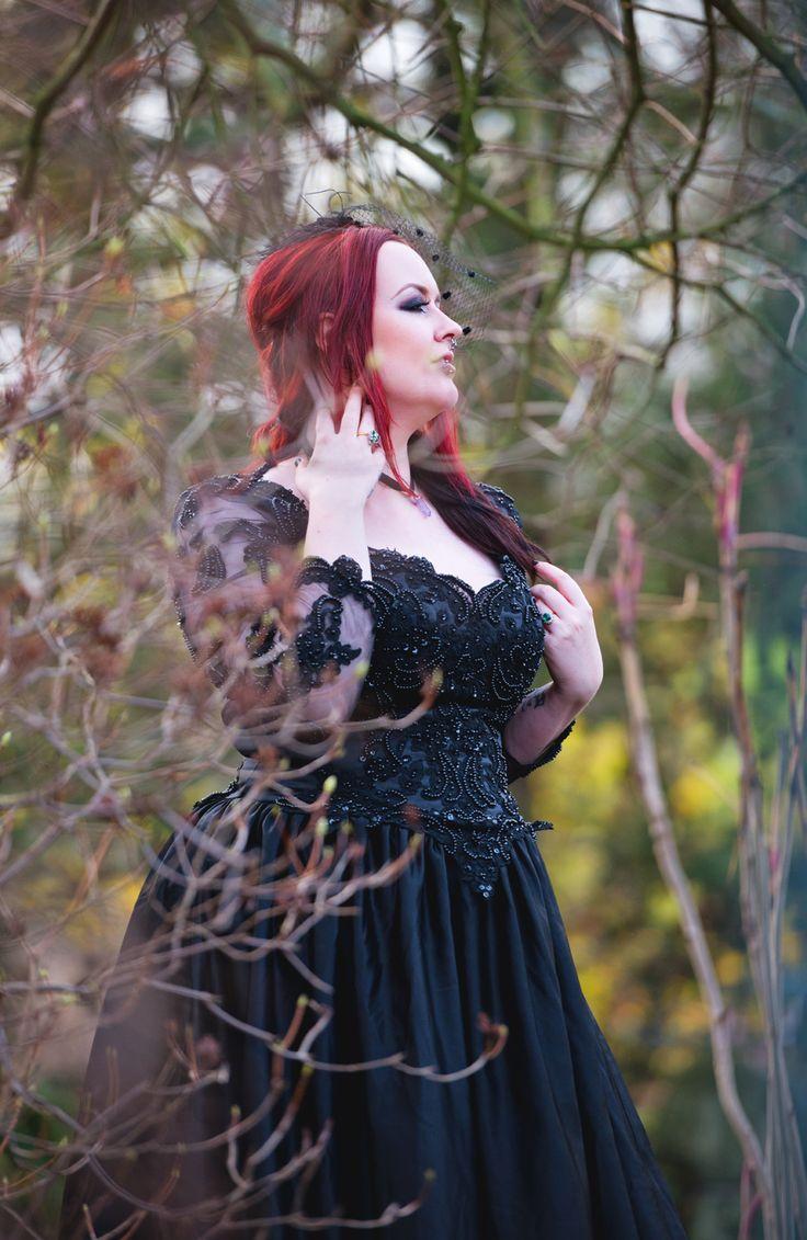9 best plus size gothic alternative bride images on pinterest gothic black wedding dress being modeled at sheffield botanical gardens inbetween the trees ombrellifo Images