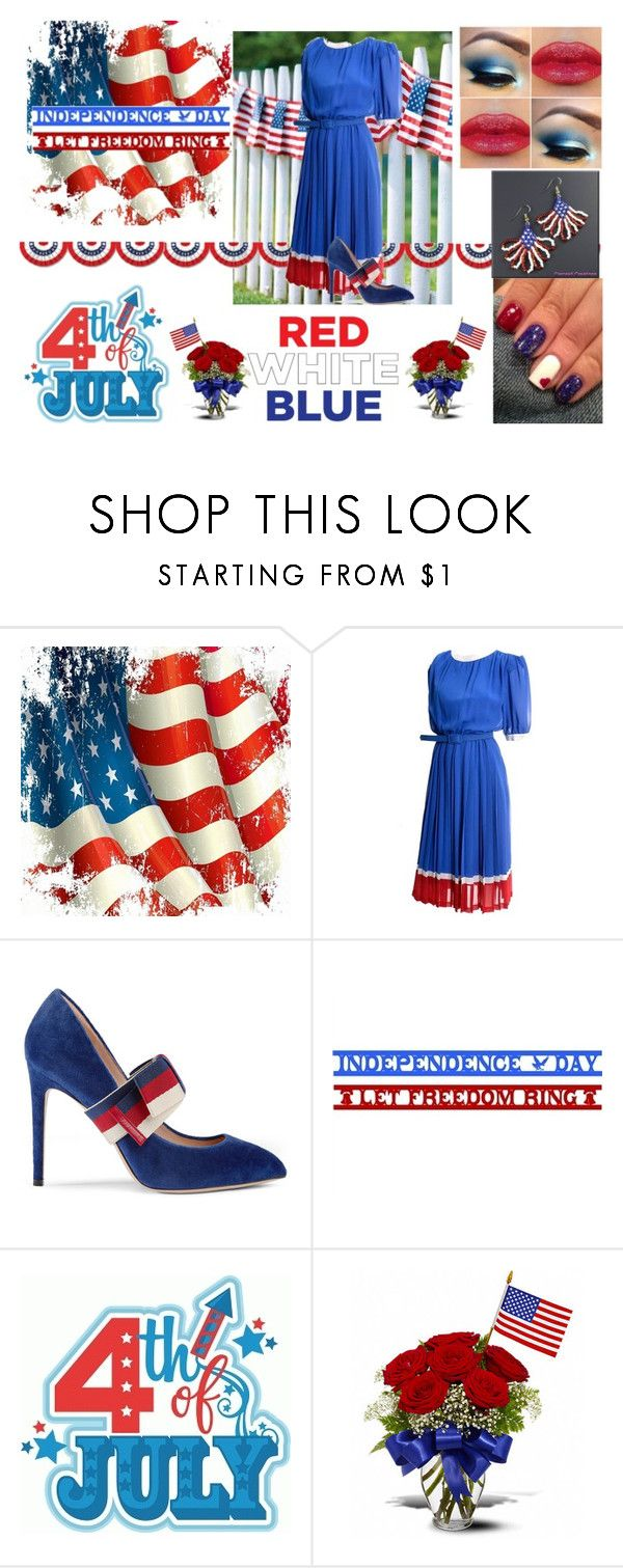 """""""4th of july!"""" by emily-dickson-1 ❤ liked on Polyvore featuring Pierre Cardin, Gucci, freedom and independenceday"""