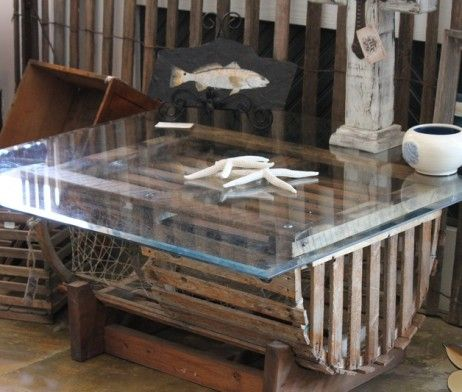 Re-purposed Lobster Trap Coffee Table, Note: I wouldn't put a glass top on it tho, prefer wood ...