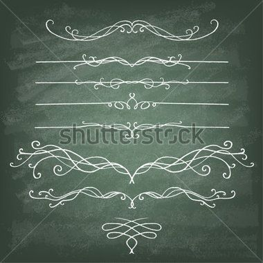 Vintage Calligraphy Chalkboard Design Set Of Decorative Elements And Page Classic Curves Curly Stock
