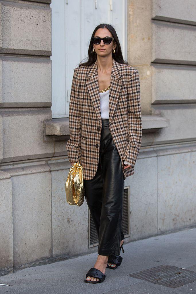 Street Style: Bottega Veneta Square-Toe Sandals in 2020 | Blazer street  style, How to wear blazers, Street style