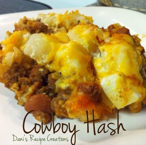 Cowboy Hash.. Made this with diced hash browns and it was just as good. I cooked them first. Give it a try!