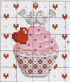 Muffin mit Herz und Tauben