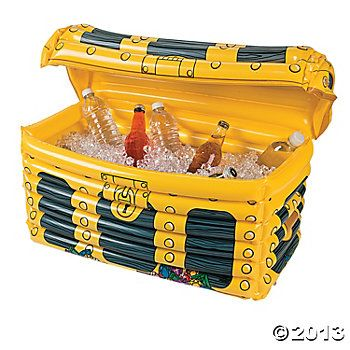 Inflatable Treasure Chest Cooler - Oriental Trading-$12.50  I'd like a couple of these at the party filled with water bottles and soda as well as one full of beer and wine coolers.