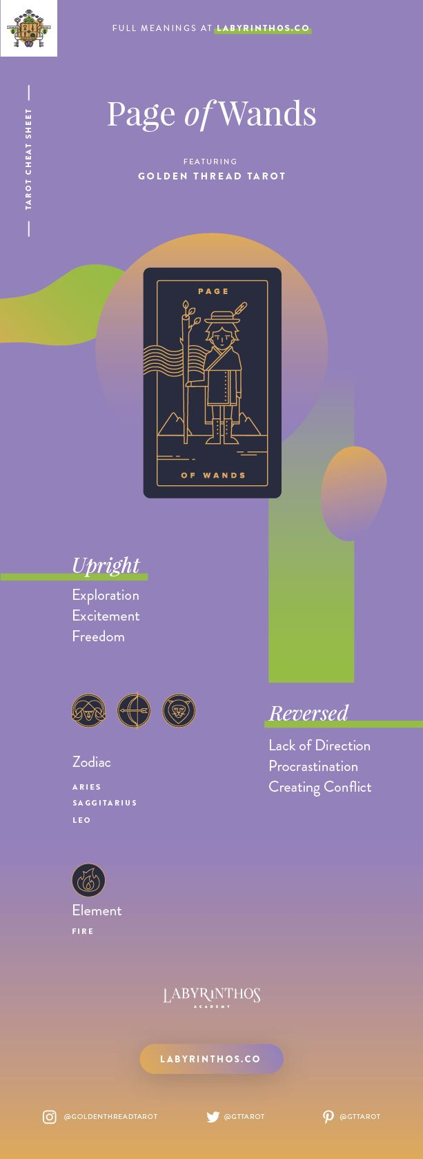 Page of Wands Meaning - Tarot Card Meanings Cheat Sheet. Art from Golden Thread Tarot.