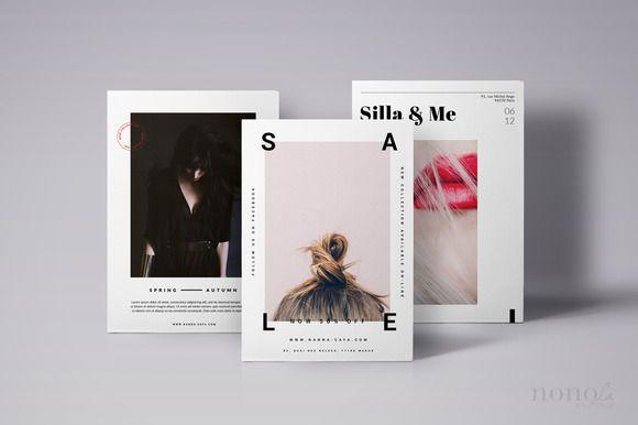3 Postcard Flyers Editorial Fashion by Nonola Boutique on Creative Market