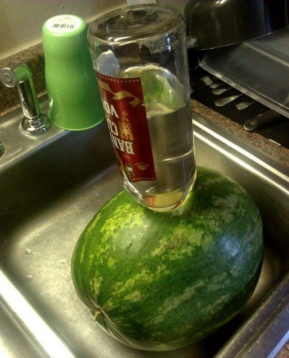We used to make booze watermelon all the time when I was younger - it's great with all types of liquors!