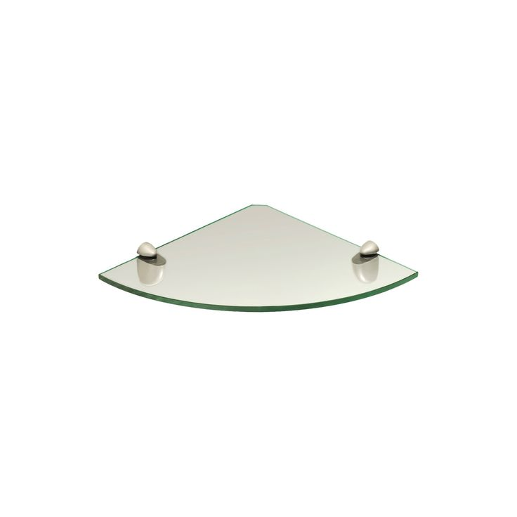 Small Clear Glass Corner Shelf w/Stainless Steel Supports