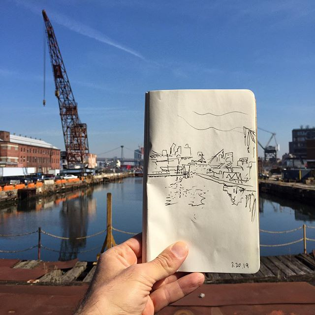3 20 19 Lunchtime Drawing Dry Dock 4 In The Brooklyn Navy Yard On The First Day Of Spring Nickslunchboxse Brooklyn Navy Yard First Day Of Spring Dock
