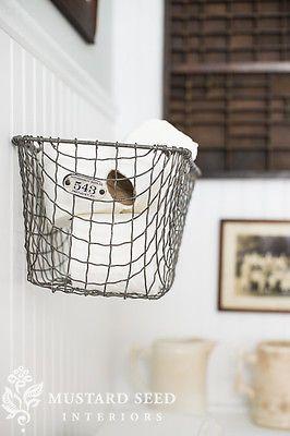vintage locker basket to hold toilet paper