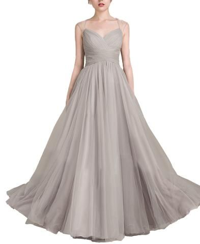 Long A-Line Princess Floor-Length Tulle Prom Dress With Ruffle Beading