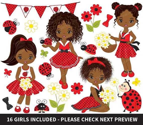 Ladybug Clipart, Vector Ladybird Clipart, Ladybug Girls Clipart, Vector Little Girls Clipart, African American Clipart #thecreativemill  Show some love and RePin!