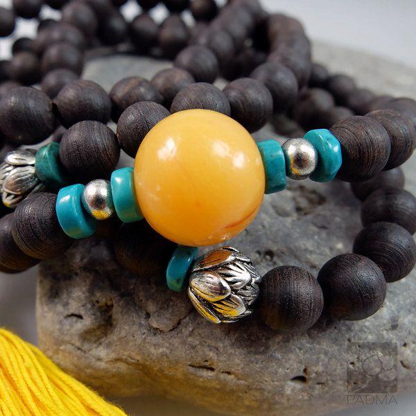 108 Eaglewood beadsResin Bead Tibetan style lotus by PadmaZenArt