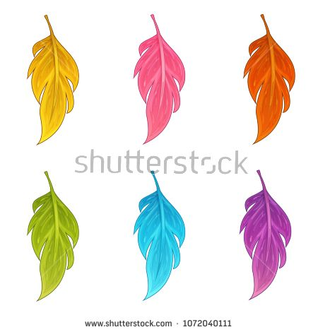 Vector set magic feather isolated on white background in cartoon style. Perfect for game app design. Element for magic and witchcraft