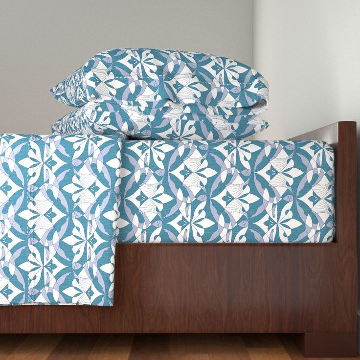 Interwoven XX on Langshan by mia_valdez | Roostery Home Decor #Pattern #Woman #Girls #Cubism #Curvism #Ladies #March #Women-day #girly #Sisterhood #Lis #Flower #Homedecor #Interwoven #bed #ChromosomesXX #Blue #Mia #Roosteryhome #Langshan #Sheet #Set @Roosteryhome