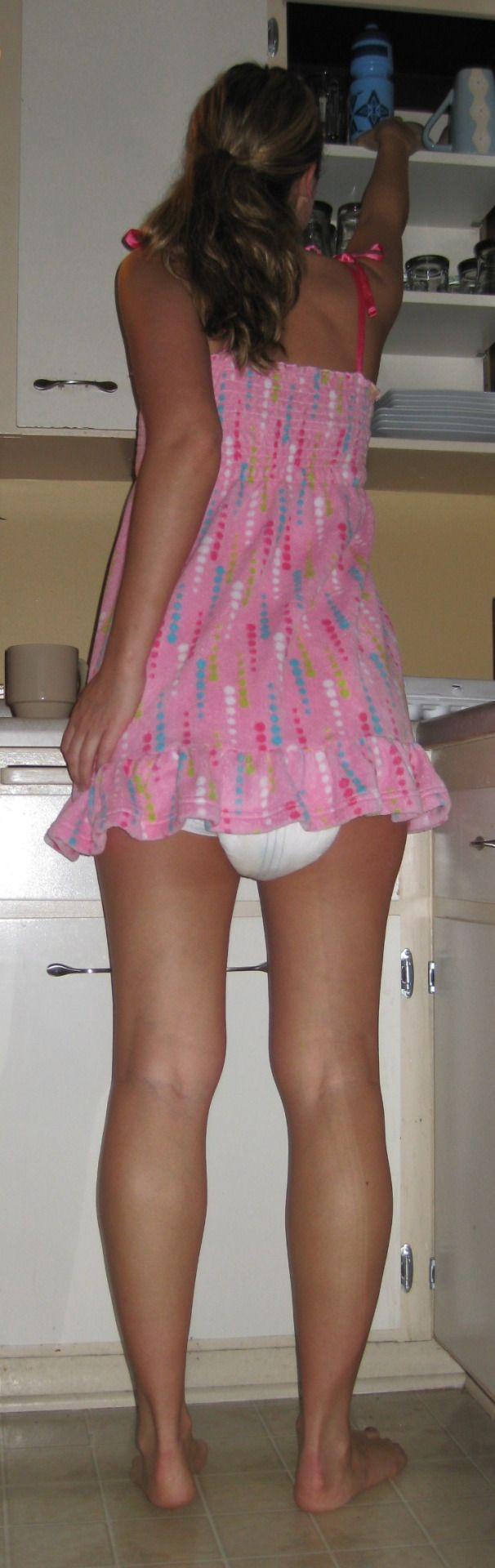 Peeing ladies diaper