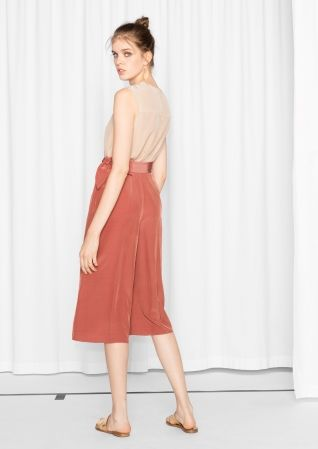 & Other Stories image 3 of Tie Waist Culottes in Salmon