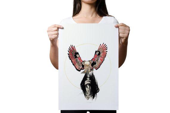 Eagle Art Print Native American Eagle Art by ShayleneReynolds