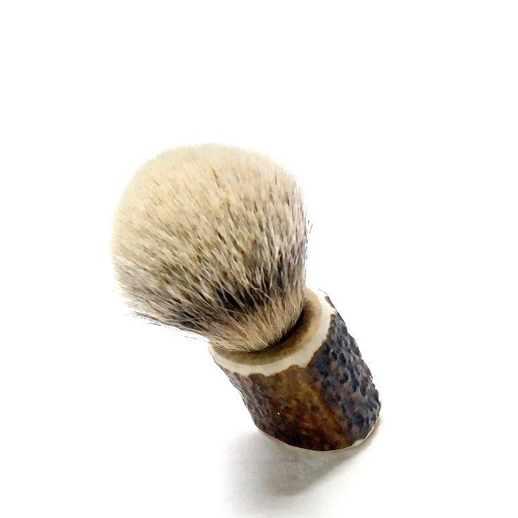 Handcrafted, unique shaving brush with silvertip badger bristle and deer antler handle.