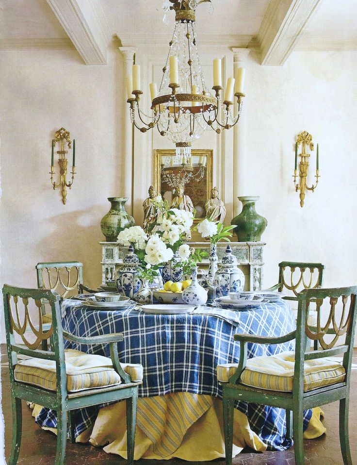 Dining Room, classic, blue, yellow