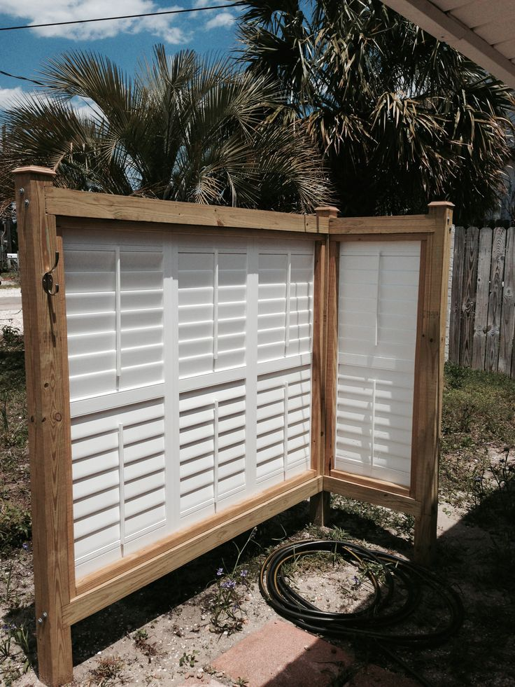 Enclosure For Outdoor Shower Upcycled Vinyl Shutters