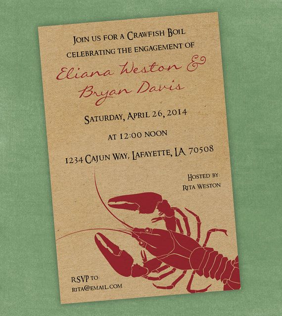 Printable Digital File - Crawfish Boil Invitation - Customizable - Kraft Paper, Seafood, Crayfish, Cajun, Birthday, Shower, Engagement Party...