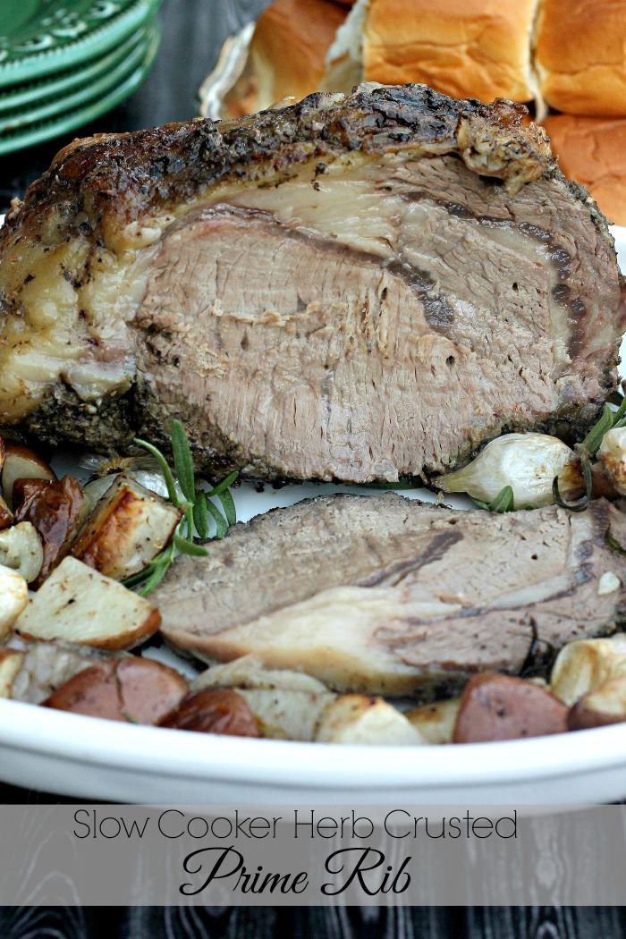 Slow Cooker Herb Crusted Prime Rib with Horseradish Sauce by Penney Lane Kitchen. Delicious, tender, and in the slow cooker. Take the stress out of your holiday meal with this prime rib.