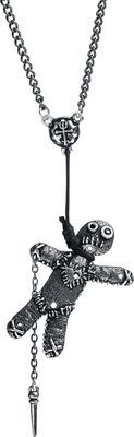 Alchemy Gothic - Voo Doo Doll    - silver coloured necklace with voodoo doll pendant  - voodoo doll pendant hangs from a waxed black cord  - size of the pendant: 13.7 x 2.7 x 0.7 cm   The 'Voo Doo Doll' necklace by Alchemy Gothic has a small doll hanging on the chain and already holds the matching knife, with which you can start your voodoo ritual!