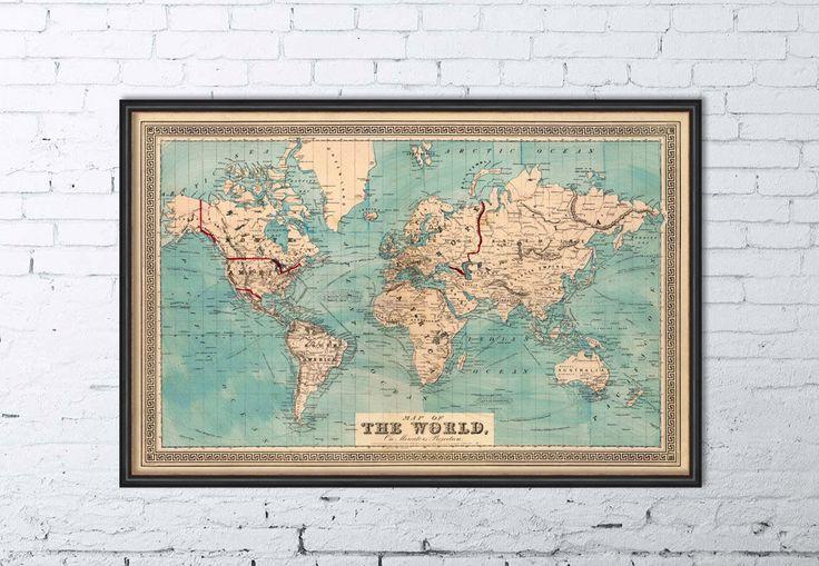 Ancienne carte - mappemonde - carte du monde - carte décorative giclee - grande carte du monde - Print par AncientShades sur Etsy