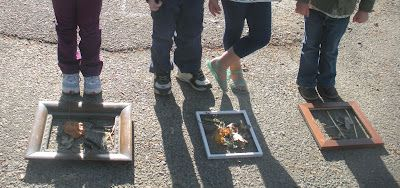 """Another activity we began doing this school year  was ""nature frames"". I saw this idea when visiting  a Reggio exhibit in Monterey in the fall.  Simply place some old picture frames, without the  glass or the back insert, on a flat surface. We then  encouraged the children to collect nature items and  arrange them within the frame. The kids had a blast  collecting and arranging. It was a group activity so they  had to all agree how it was to look."""