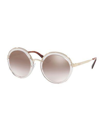 PRADA Trimmed Mirrored Round Sunglasses, Brown. #prada #