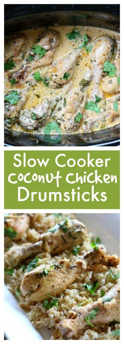 Easy recipe slow cooker coconut chicken drumsticks with cilantro #freezermeal
