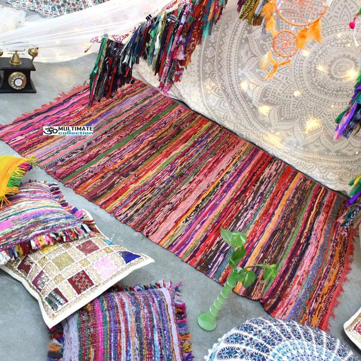 orange area rug cheap chindi rag rugs