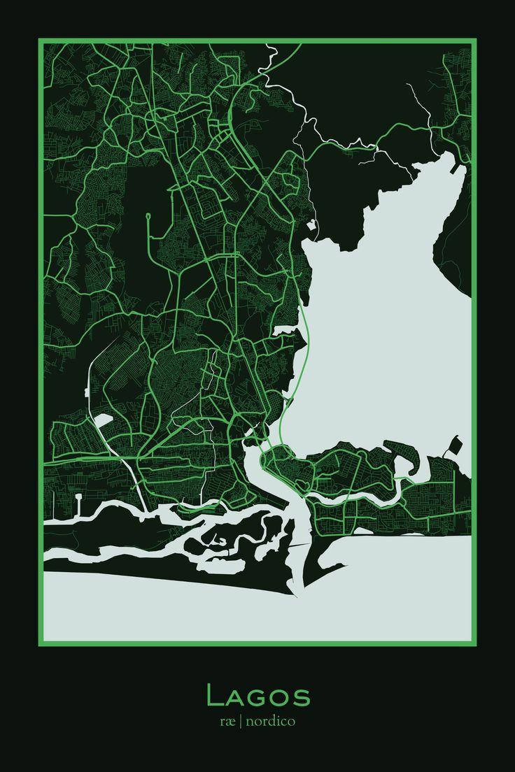 Lagos Nigeria Map Print 271 best africa