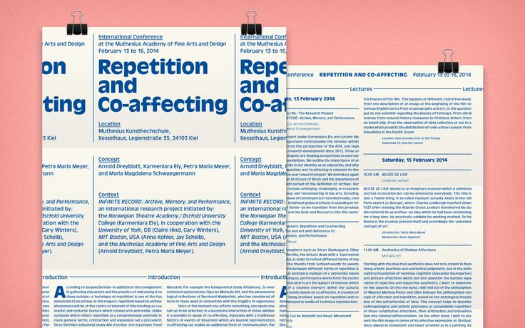 "Programme leaflet for the international conference ""Repetition and Co-affecting."" #AntiqueOlive #Muthesius #Symposium #Exhibition #2014"