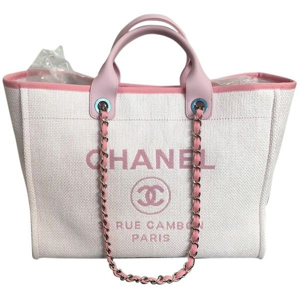 d59eb4ab45 Pre-owned Chanel Deauville With Silver Chain Pink Tote Bag ($3,795) ❤ liked  on Polyvore featuring bags, handbags, tote bags, pink,… | Favorite Purses !