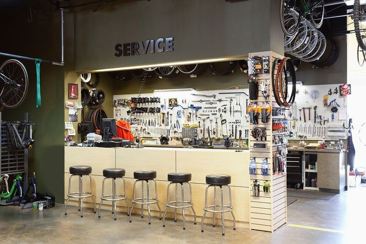 A bicycle shop and repair workshop.