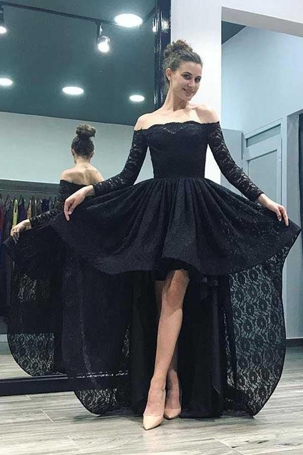 282e96d1047 Off-the-Shoulder High Low Pink Long Sleeves Lace Prom Dress PG496 ...
