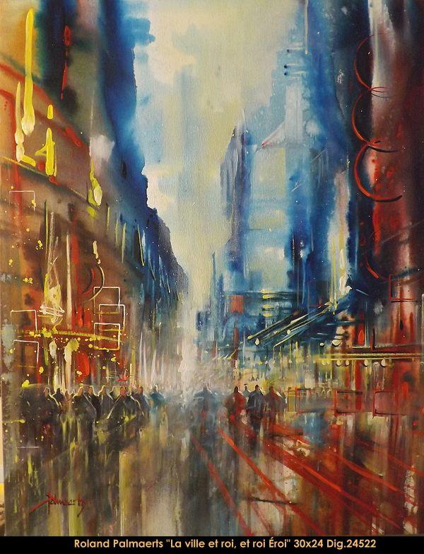 Original multimedium painting on canevas by Roland Pamaerts #Palmaerts #art #figurativeart #CanadianArt #originalartwork #mixtmedia #quebecartist #canadianartist #cityscene #contemporaryart #fineart #balcondart #multiartltee
