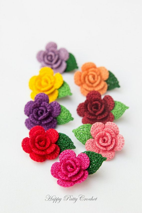 Crochet Mini Rose Pattern  Crochet Flower Applique Pattern