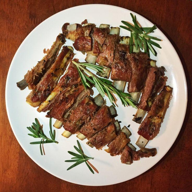 garlic rosemary lamb riblets {the kosher foodies}